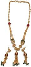 Na n156  Bollywood Fashion Golden Balls & Red Polki Necklace Pendant Ear... - $18.65