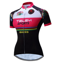 An item in the Sporting Goods category: Pink Cycling Jersey Women Bike Top Shirt Summer Short Sleeve MTB Cycling Clothin
