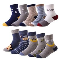 10 Pairs Kids Toddler Boys Girls Colorful Novelty Fashion Cotton Crew So... - $15.09