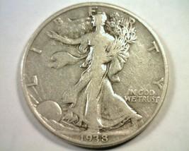 1938-D WALKING LIBERTY HALF FINE / VERY FINE F/VF NICE ORIGINAL COIN BOB... - $120.00