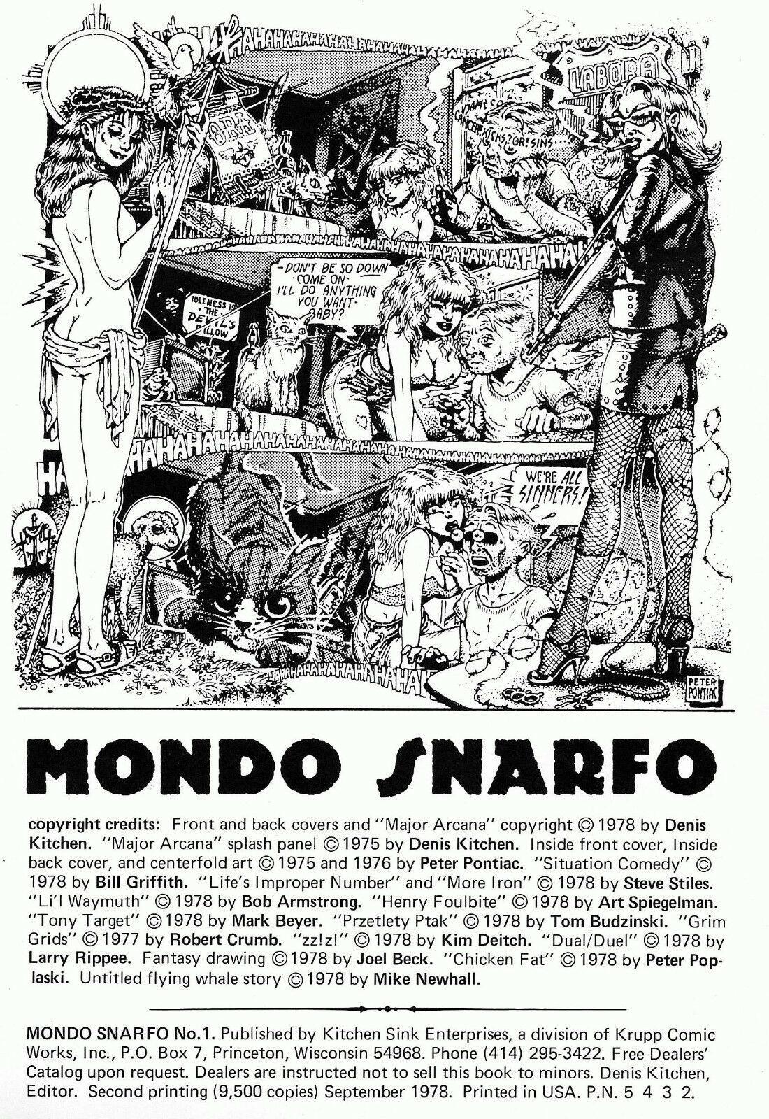 Mondo Snarfo, Kitchen Sink 1978, - 2nd printing, Classic underground comix