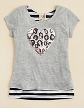 Lily Bleu Girls' Leopard Print Sequin Heart Tee, Heather Gray, Size 4, - $18.69