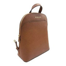 NEW MICHAEL KORS EMMY LARGE LUGGAGE BROWN SAFFIANO LEATHER BOOK BAG BACK... - $175.00