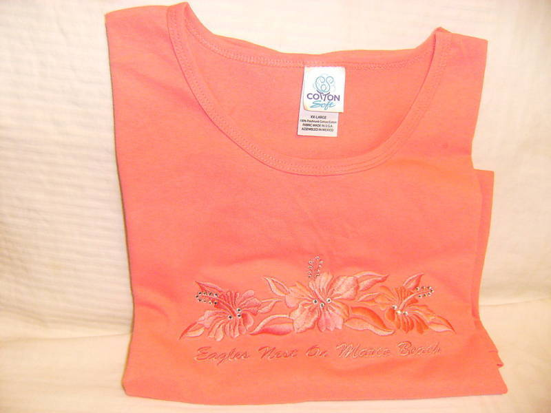 Primary image for Women Marco Beach T Shirt Coral Embroid Rhinestone XXL