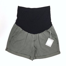 A:Glow Maternity Cuffed Twill Shorts Full Belly Panel Size 8 Green Grape... - $19.79