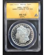 1880/79-S Deep Mirror Proof-Like Morgan Silver Dollar Graded MS-63 - $445.50