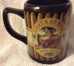 Coffee Mug Light Up With Moose Creek Smoking Cigar Enesco - $21.78