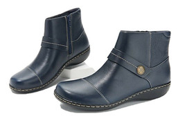 Clarks Leather Ankle Boots Size 8 Navy Blue Ashland Pine  - $48.33