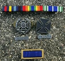 US Army Military Pin Lot Grenade, Rifle Color Bar 4 Pins - $9.67