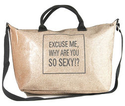 Glitter Excuse Me Why Are You So Sexy Tote Shoulder Purse Handbag Gym Bag image 5