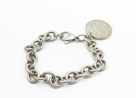TIFFANY & CO 925 Silver - Vintage Minimalist Round Link Chain Bracelet - B6000 image 2