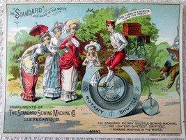 STANDARD SEWING MACHINE MAN ON BICYCLE TRADE CARD 1880'S - $9.99