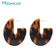 Rushed Round Trendy Brincos Tortoiseshell Semicircle Stud Earrings Resin Materia - $8.10