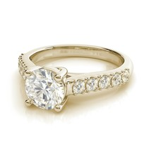 1.00CT Round Trellis Forever One Moissanite Yellow Gold Ring With Diamonds - $943.12+