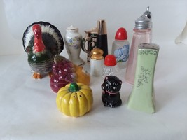 Lot of 13 Single Individual Vintage Miscellaneous Salt and Pepper Shakers - $14.84