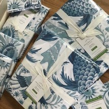 Pottery Barn Athena Duvet Cover Blue King Traditional Bird No Sham - $124.71