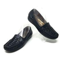 Pierre Dumas Patsy Black Faux Leather Slip On Braid Loafers Flats Womens... - $15.49