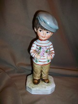 VINTAGE 1973 MOPPETS BY FRAN MAR FIGURINE BOY WITH FLOWER BOUQUET - $13.85