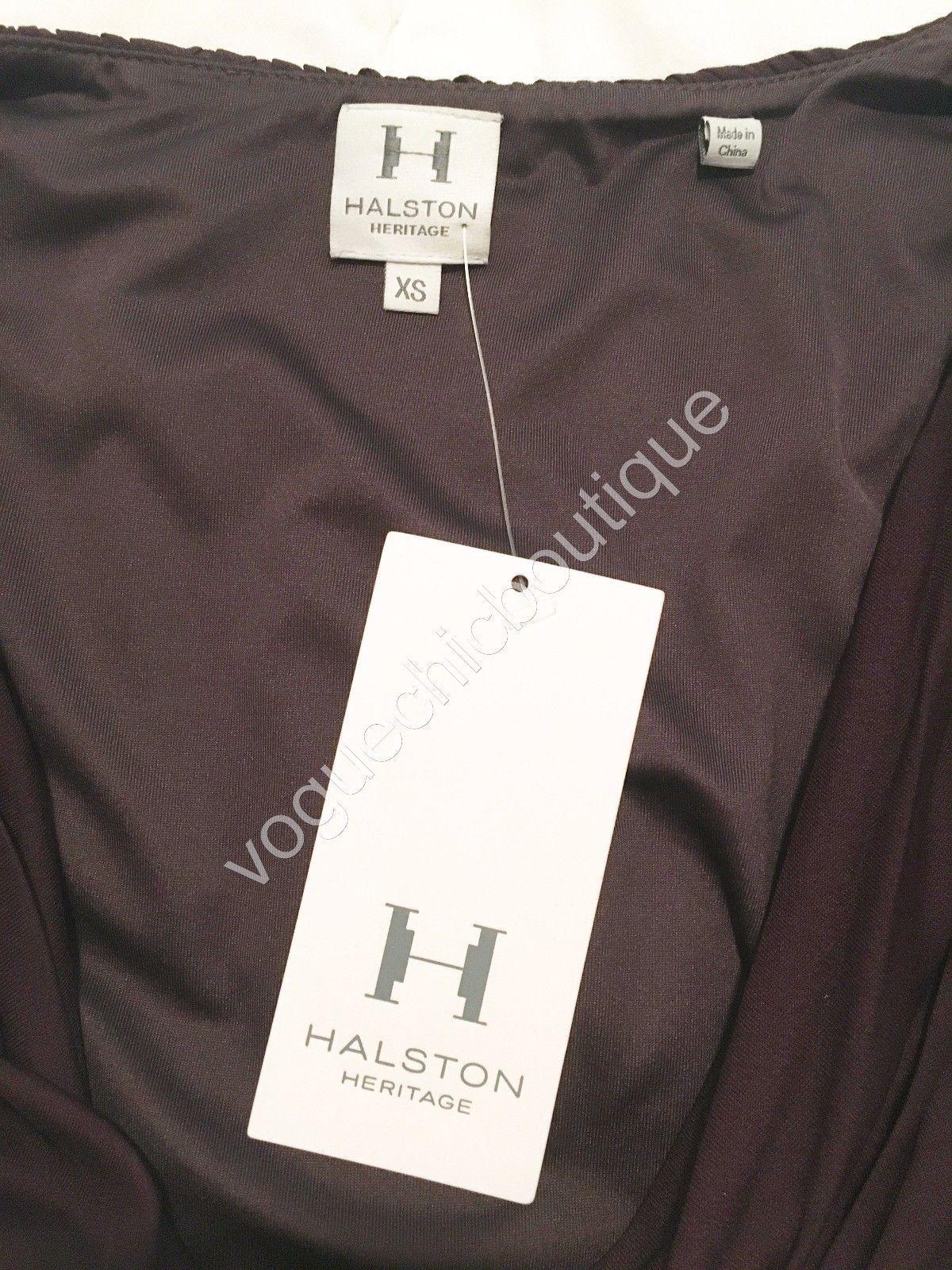 NWT Halston Heritage Ruched Jersey Mini Bodycon Dress Purple Aubergine XS 0 2 image 9