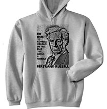 Bertrand Russell Happiness Quote P - New Cotton Grey Hoodie - $40.34