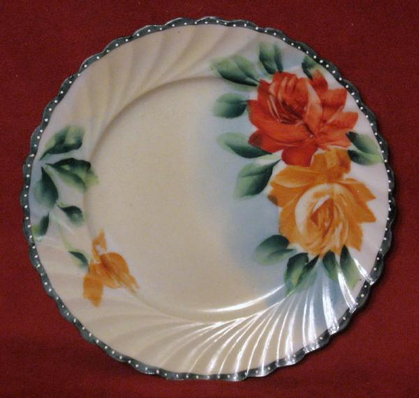 Vintage Nippon Hand Paint Plate Dish Te Oh Roses Scalloped Edge China Green Red