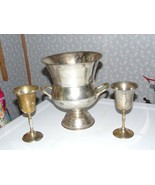 VINTAGE SILVERPLATE WINE CHAMPAGNE ICE BUCKET DECOR W/2 GOBLETS 3 PC. INDIA - $74.20