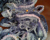 Exquisite hand knit frilly festive fashion scarf in multi-grays, white w/sequins