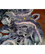 Exquisite hand knit frilly festive fashion scarf in multi-grays, white w... - $20.00