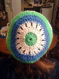 Hand crocheted blue/green/white beret/beanie/cap/hat/slouch/tam