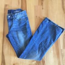 """GAP 1969 Women's cotton Denim Long & Lean jean pant Size 25P Size 0 26"""" ... - $17.17"""