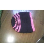 Hand crocheted pink and black beret/beanie/cap/hat/slouch/tam - $10.00