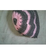 Hand crocheted pink and grey beret/beanie/cap/hat/slouch/tam - $10.00