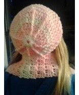 (11)Hand crocheted pink and white beanie/cap/hat/slouch/tam & scarf - $20.00