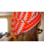 Hand crocheted red and grey beret/beanie/cap/hat/slouch/tam - $10.00
