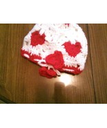 Hand crocheted red & white sweetheart beanie/cap/hat - $10.00