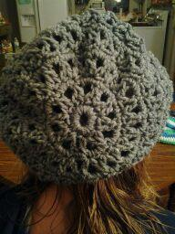 (9)Hand crocheted smoky grey beanie/cap/hat/slouch/tam