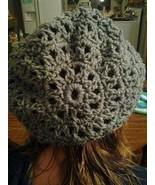 (9)Hand crocheted smoky grey beanie/cap/hat/slouch/tam - $10.00