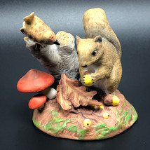 1984 FRANKLIN MINT FIGURINE Peter Barrett colors of Autumn squirrel chipmunk nut - $34.65