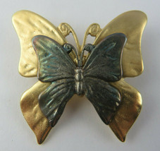 Vintage Premiere Design PD Butterfly Bronze & Gold Tone Metal Brooch Pin  - $15.00