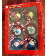 6 Pc Snowtop Dazzle Glass Ball Christmas Ornaments Home Accents Santa Sn... - $19.79