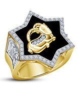 18k Gold Plated 925 Silver Diamond Capricorn Zodiac Sign Men's Band Wedd... - $147.99