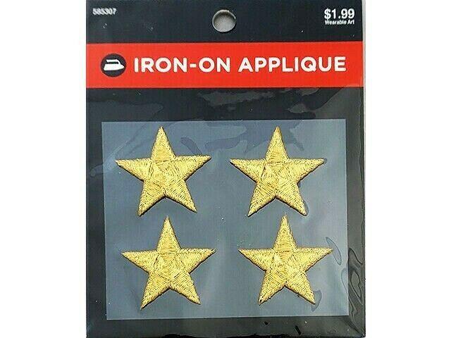 Hobby Lobby Iron-On Applique, Gold Stars, Set of 4 #585307