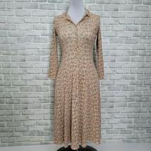 Vintage 90s Next Era Ribbed Cottage Core Floral Button Front Midi Dress ... - $46.74