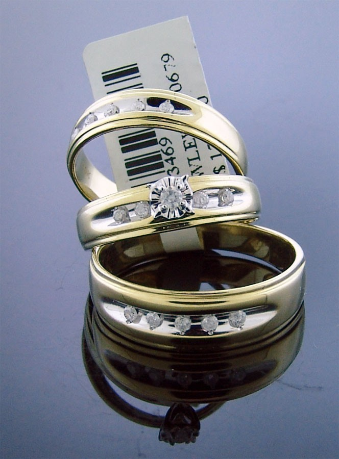 Primary image for 10K Yellow Gold engagement wedding his / her trio ring set large diamonds 8.9Grm