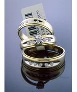 10K Yellow Gold engagement wedding his / her trio ring set large diamond... - $643.49