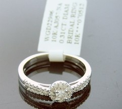 10k White Gold Engagement Wedding Band Ring Set 0.30ct White Diamonds Size 6.5 - $383.12