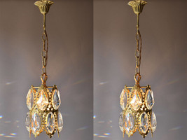 Matching Lanterns Vintage Crystal Chandeliers Antique French CEILING LIG... - $799.90