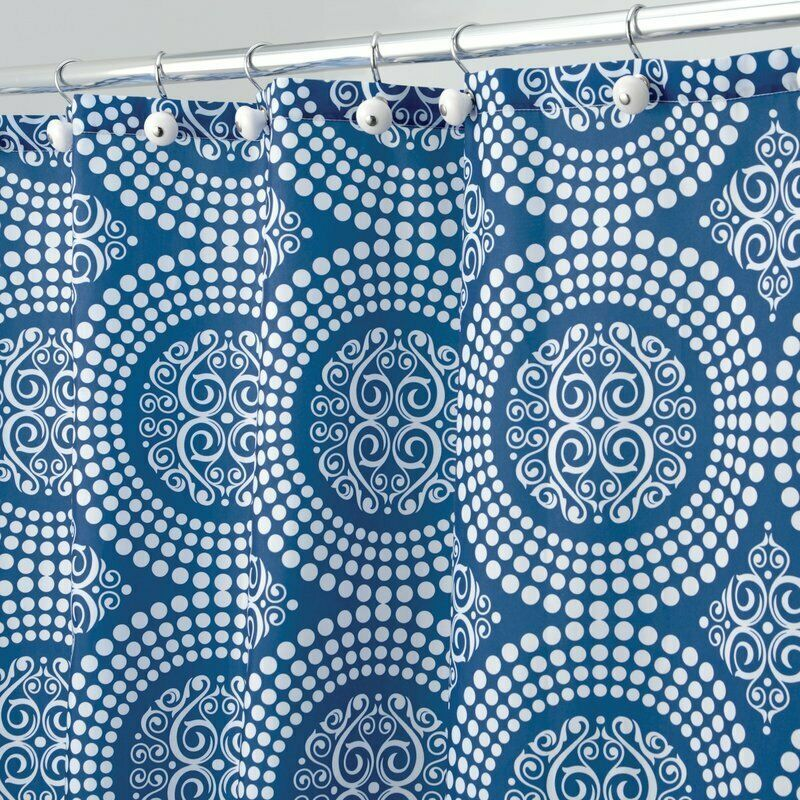 NEW! InterDesign Medallion Fabric Shower Curtain, 72 x 72, White Ink Blue