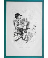 VIOLIN PLAYER - 1876 Antique Print after Casanova - $16.20