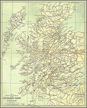 Map showing the Districts of the Highland Clans of Scotland Art Poster Print - $13.00+